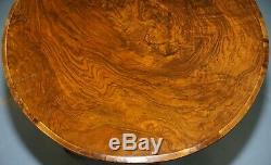 Rare Early 19th Century Burr Walnut Tripod Side Table Victorian Ornate Carving