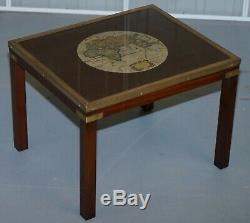Rare Lovely Coffee & Side Table Nest Of Tables Military Campaign With World Maps