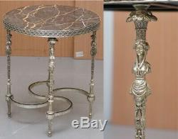 Rare Silver Plated Sculpted French Empire Style Marble Topped Occasional Table