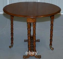 Rare Victorian Small Salesman Sample Famboo Gatele Folding Table Side Table Size