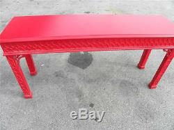 Red Color Hollywood Regency Fretwork Chippendale Palm Beach Console