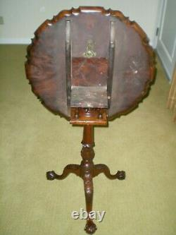 Reproduction 18th Century Chippendale Mahogany Pie Crust Tilt Top Table