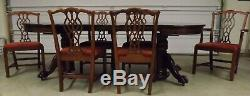 Round 4' 8' Mahogany Antique Dining Table, Split Pedestal, 6 Chippendale Chairs