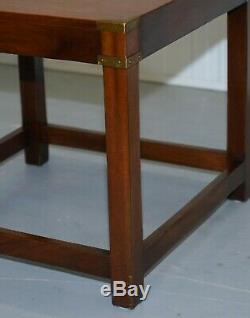 Rrp £1250 Harrods London Light Mahogany Military Campaign Lamp Side End Table