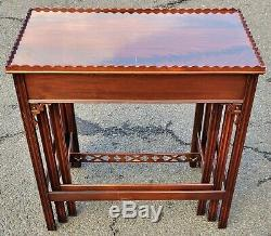 SET 3 Antique ENGLISH Mahogany CHINESE CHIPPENDALE Nesting NEST OF TABLES Asian