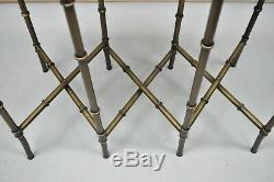 Sarreid Metal Faux Bamboo Chinese Chippendale Style Tall Folding Tray Side Table