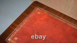 Small Oxblood Leather Topped Mahogany Writing Table Or Large Side End Lamp Table