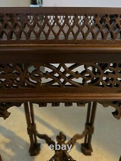 Stunning Antique Mahogany Chinese Chippendale Carved Table Stand Lazy 8 Carving