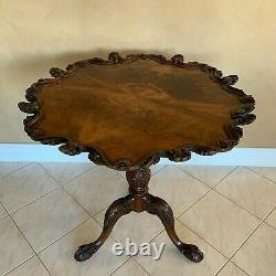 Stunning Antique Tilt Top Scalloped Pie-crust Tea Table Hand Carved Mahogany