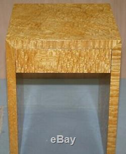 Stunning Burr Satin Wood Side Lamp Table With Single Drawer Part Of Large Suite