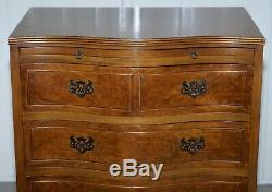 Stunning Burr Walnut Chest Of Drawers With Butlers Serving Tray Large Side Table