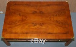 Stunning Burr Yew Harrods Kennedy Military Campaign Coffee Table 6 Drawers Total