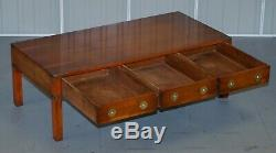 Stunning Burr Yew Harrods Kennedy Military Campaign Coffee Table Three Drawers