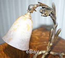 Stunning Charles Schneider Solid Bronze Circa 1920 Table Lamp Original Shade