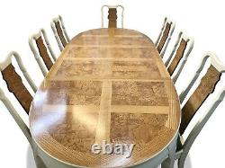 Stunning Designer Art Deco style Oak & Burr Ash dining set pro French Polished