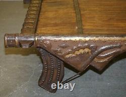 Stunning Original Antique Tibetan Reclaimed Wood & Metal Bound Coffee Table