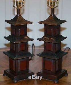 Stunning Pair Of Austin The Home Collection Chinese Pagoda Temple Table Lamps