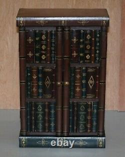 Stunning Pair Of Side End Lamp Wine Table Sized Faux Book Library Study Cabinets