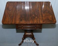 Stunning Regency Rosewood Work Table With Drop Leaves And Two Drawers