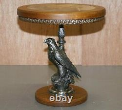 Stunning Silver Plated American Eagle With Marble Top Side End Lamp Wine Table
