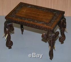Stunning Small Circa 1900 Anglo Indian Elephant Hand Carved Rosewood Side Table