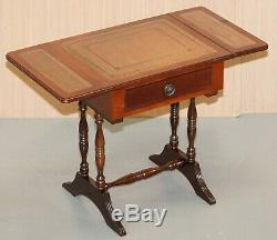 Stunning Small Side Table With Extending Brown Leather Gold Leaf Embossed Top