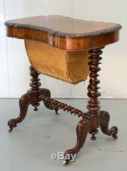 Stunning Victorian Barley Twist Quarter Cut Walnut Sewing Work Table Lift Top