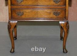 Stunning Vintage Burr Walnut Extending Lamp End Wine Side Table Chest Of Drawers