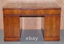 Stunning Vintage Burr Yew Wood Military Campaign Pedestal Green Leather Top Desk