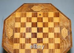 Stunning Walnut Victorian Sewing Or Work Box Chess Games Table Great Lamp Wine