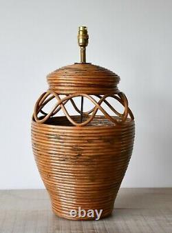 Stylish Soane Britain Style Vintage Rattan Wicker Brass Hall Side Table Lamp