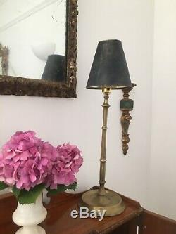 Stylish faux bamboo, quality brass table lamp, 44cm, circa 1960s