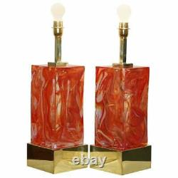 Sublime Pair Of Original Murano Glass Marbled Solid Heavy Large Table Lamps