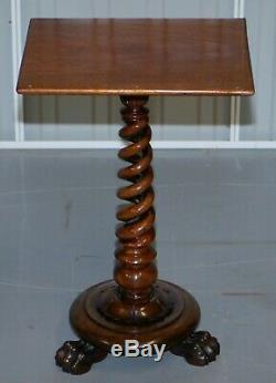 Sublime William IV Rosewood Spiral Base Tripod Side Table Lion Hairy Paw Feet