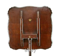 Superb Antique Carved Mahogany Square Tilt Top Chippendale Style Sea Shell Table
