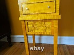 Tiger Maple Set Side Table Plus Matching 5 Drawer Chest (NEW) Lid Compartment