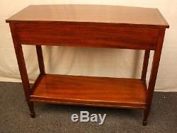 Tradition House Cherry Inlaid Console Table Chippendale Style Server Two Drawers