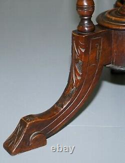 Victorian 1880 Walnut & Boxwood Marquetry Inlaid Chess Games Table Ornate Legs