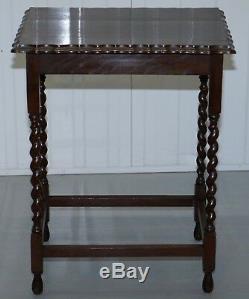 Victorian Barley Twist Leg Side End Wine Lamp Silver Tee Table Scalloped Edge
