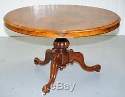 Victorian Burr Walnut Tilt Top. Loo Table With 3 Carved Legs Circa 1860