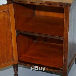 Victorian Rosewood Marquetry Inlaid Side Lamp Wine End Table Cabinet Cupboard