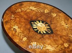 Victorian Walnut & Marquetry Inlaid Tilt Top Oval Side Table Bulbous Pedestal