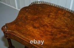 Victorian Walnut Prince Of Wales Feathers Writing Table Desk Oxblood Leather
