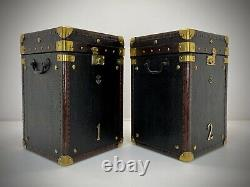 Vintage Antique Leather Trunk Pair. Side Table. Lamp Table. Luggage