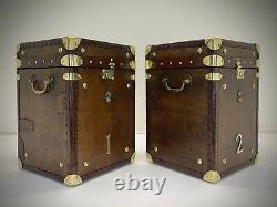 Vintage Antique Leather Trunk. Side Table. Lamp Table. Luggage
