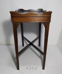 Vintage Antique Mahogany Butler Tea Tray Table English Georgian Chippendale