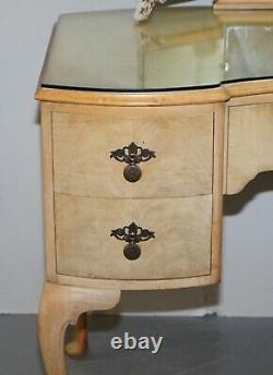 Vintage Art Deco Style 1940's Burr Light Walnut Dressing Table Tri Fold Mirrors