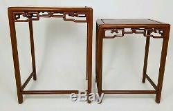 Vintage Asian Chinese Chippendale Carved Rosewood Nesting Tables Set of 2
