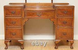 Vintage Burr Walnut Dressing Table & Stool With Trifold Mirrors Part Of Suite