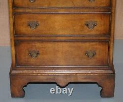 Vintage Burr Walnut Side Table Sized Chest Of Drawers With Butlers Serving Tray